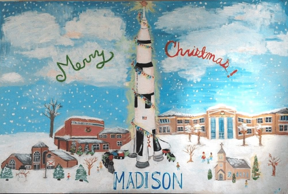 hand painted Christmas card depicting a Madison, AL winter scene