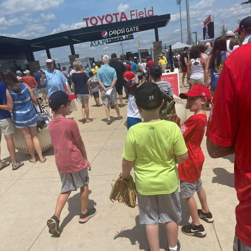 Many people lining up outside of Toyota Stadium to watch the Trash Pandas play.